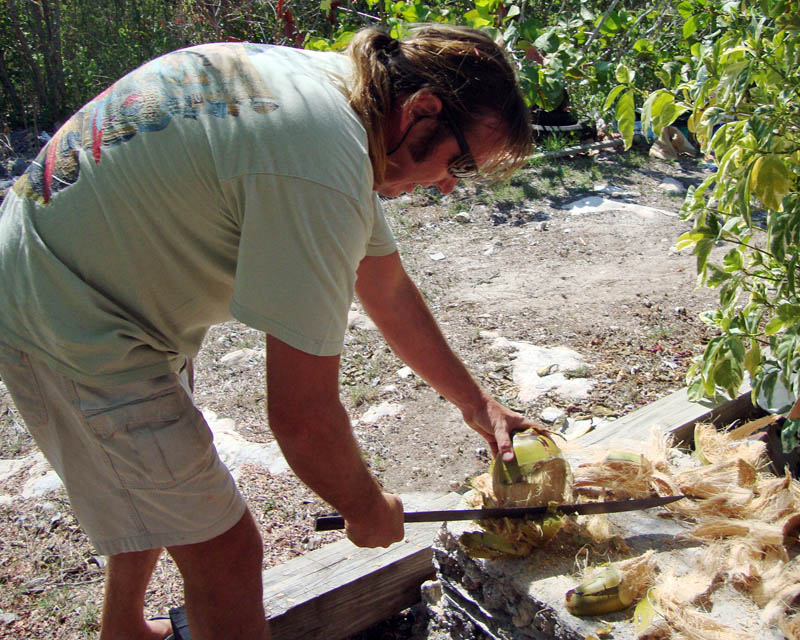 Don Cutting Coconuts