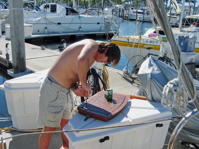 Don Working on the Helm Seat