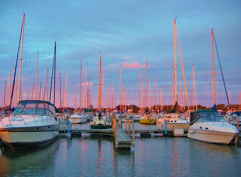 Sunset Splashed Masts