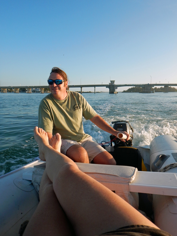 Relaxing in the Dinghy on the Manatee River