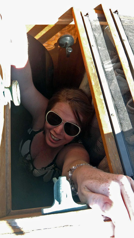 Genevieve Through the Forward Hatch