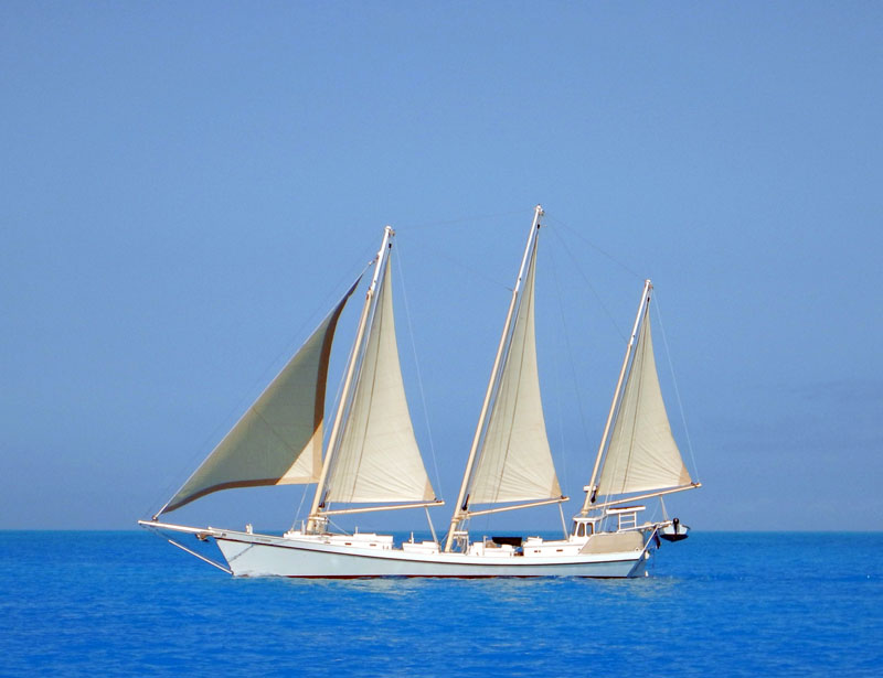 3 Masted Schooner Sailing Off the Bahamas Out Islands